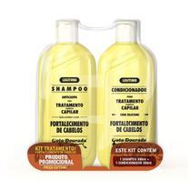 Kit Shampoo e Condicionador Tratamento Para Fortalecimento de Cabelos - Gota Dourada -