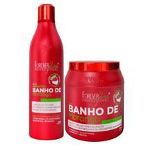 Kit shampoo e máscara 1kg banho de verniz morango forever liss -