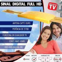 Kit Sinal Digital Antena Ouro C/ Conversor Dtv 7000 Cabo 15m Capte