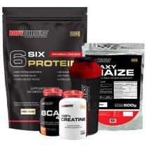Kit Six Protein 2kg coo + BCAA 100g + Creatine 100g + Waxy Maize 800g + Coqueteleira - Bodybuilders -