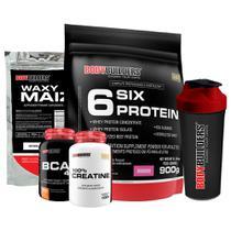 Kit Six Protein 900g mor + BCAA 100g + Creatine 100g + Waxy Maize 800g + Coqueteleira - Bodybuilders -