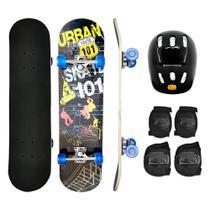 Kit Skate Infantil Radical C/ Proteção Capacete Joelheira Urban - DM TOYS
