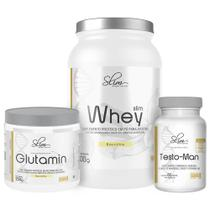 Kit Slim Whey 900g Baunilha + Testo-Man Slim 60caps + Glutamin Slim 250g  Slim Weight Control -