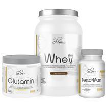 Kit Slim Whey 900g Chocolate + Testo-Man Slim 60caps + Glutamin Slim 250g  Slim Weight Control -