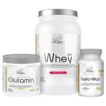 Kit Slim Whey 900g Morango + Testo-Man Slim 60caps + Glutamin Slim 250g  Slim Weight Control -