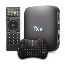 Kit Smart Tv Box Midia Streaming TX-2 4k + Mini Teclado Universal Smart Tv Com Led - Diversos
