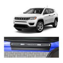 Kit Soleira Jeep Compass 4P Premium Aço Escovado Resinado - Np