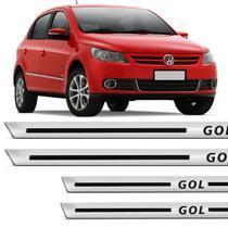 Kit Soleira Protetora Gol G3 G4 G5 G6 G7 2000 a 2020 Protetora Resinada Cromada com Grafia Preta - Ura