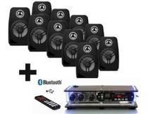 Kit Som Ambiente 10 Caixas Pretas + Amplificador Bluetooth - ORION