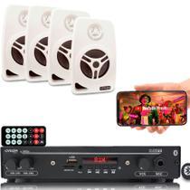 Kit Som Ambiente 1002 Bt Control+ 4 Caixas Parede Branca 55w - ORION
