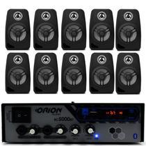 Kit Som Ambiente 300w Bluetooth +10 Caixas Parede Pretas - Orion Áudio