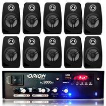 Kit Som Ambiente 300w Bluetooth +10 Caixas Parede Pretas - ORION