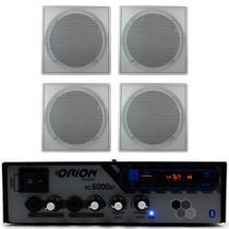 Kit Som Ambiente 300w Bluetooth + 4 Caixas P/gesso Brancas - ORION