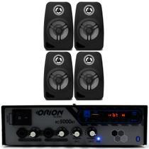 Kit Som Ambiente 300w Bluetooth + 4 Caixas Parede Pretas - Orion