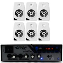 Kit Som Ambiente 300w Bluetooth + 6 Caixas Br +50 Mts Cabos - Orion