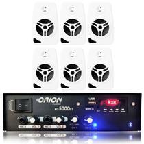 Kit Som Ambiente 300w Bluetooth + 6 Caixas Parede Brancas - ORION