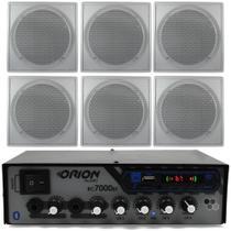 Kit Som Ambiente 4 Canal 500 Watts + 6 Arandela Br Quadrada - Orion
