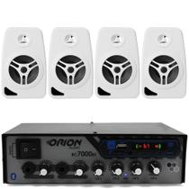 Kit Som Ambiente 500 Watts Bluetooth +4 Caixas Parede Branca - Orion