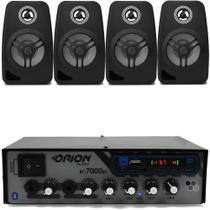 Kit Som Ambiente 500 Watts Bluetooth +4 Caixas Parede Pretas - Orion