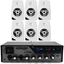 Kit Som Ambiente 500 Watts Bluetooth +6 Caixas Parede Branca - Orion