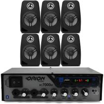Kit Som Ambiente 500 Watts Bluetooth 6 Caixas Parede Pretas - Orion