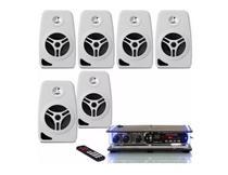 Kit Som Ambiente 6 Caixa Acústica Parede  Com Receiver Bluetooth - Orion Áudio