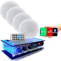 Kit Som Ambiente Amplificador Bluetooth + 4 Arandelas Gesso - ORION