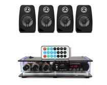 Kit Som Ambiente Amplificador Bluetooth + 4 Caixas Acústicas - Orion Áudio