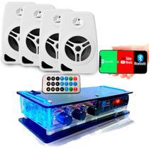 Kit Som Ambiente Amplificador Bluetooth E 4 Caixas Acústicas - Tsshop