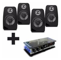 Kit Som Ambiente Rc Bluetooth + Caixas Pretas + 50m De Fios - Orion