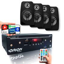 Kit Som Ambiente Receiver Pc Celular + 4 Caixas Preta - ORION
