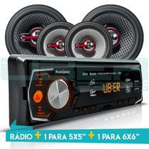 Kit Som Auto Radio Bluetooth Mp3 Usb + 2 Falantes 5 Pol + 2 Falantes 6POL - First option