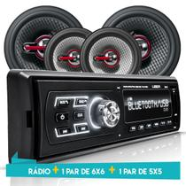 Kit Som Auto Radio Bluetooth Mp3 Usb + 2 Falantes 5 Pol + 2 Falantes 6POL - Uberparts