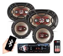 Kit Som Automotivo Bluetooth Auto Falante Bravox 6 + 6x9
