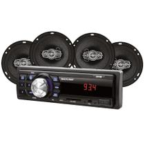 Kit Som Automotivo Multilaser Mp3 One Quadriaxial + Quatro A