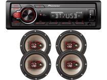 Kit Som automotivo MVH-S218BT MP3 USB BT + 2 Pares Alto-Falantes Triaxial Bravox 6 - B3X60X 200W -