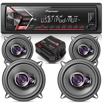 KIT Som Automotivo Pioneer Mp3 + 04 Alto Falantes 5 Triaxial + Módulo Stetsom