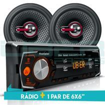 Kit Som Carro Radio Bluetooth Mp3 Usb + 2 Alto Falante 6 Pol 110W RMS - First option