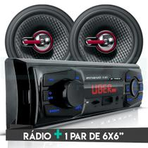 Kit Som Carro Radio Bluetooth Mp3 Usb + 2 Alto Falante 6 Pol 110W RMS - Uberparts