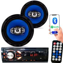 Kit Som Carro Radio Mp3 Bluetooth Usb + 2 Alto Falante 6 Pol - Etech Imports