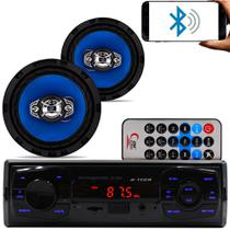Kit Som Carro Radio Mp3 Bluetooth Usb + 2 Alto Falante 6 Pol - Fistoption