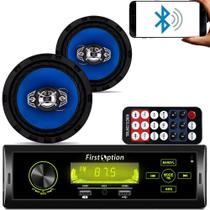 Kit Som Carro Radio Mp3 Bluetooth Usb + 2 Auto Falante 6 Pol - First Option