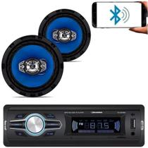 Kit Som Carro Radio Mp3 Bluetooth Usb + 2 Auto Falante 6 Pol - Roadstar