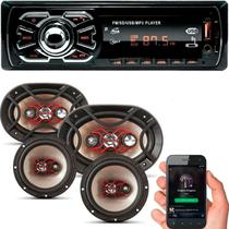 Kit Som Carro Rádio Mp3 Bluetooth Usb + Auto Falante 6 + 6x9 - Bravox