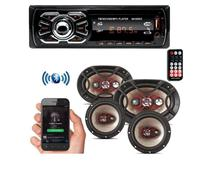 Kit Som Carro Radio Mp3 Bluetooth Usb + Auto Falante 6 + 6x9 - First/Bravox