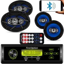 Kit Som Carro Radio Mp3 Touch com Bluetooth + Falante 6 Pol + 6x9 310w Orion -