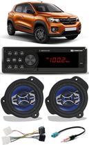 Kit Som Hurricane Renault Kwid Rádio Bluetooth Alto Falante Chicotes -