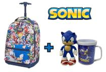 Kit Sonic The Hegdehog Mochila Rodinhas + Copo e Boneco - Pacific