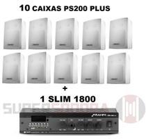 Kit Sonorização Ambiente até 150m² Slim 1800 APP + 10 Caixas PS200 Plus Branca - 30W RMS - Para 2 Ambientes - Frahm