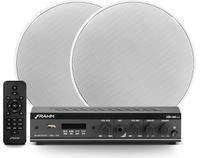 "Kit Sonorização Frahm Amplificador Slim 800 APP + 2 Arandelas 6"" 40W RMS -"